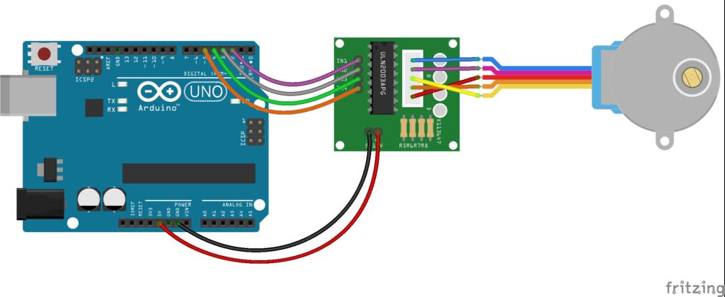 Схема подключения шагового двигателя 28byj-48 к Arduino Uno