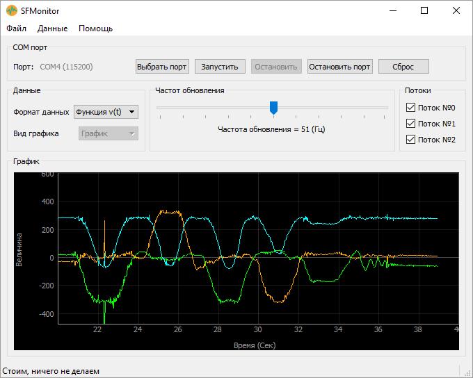 Настройка SFMonitor. Данные акселерометра из COM-порта Ардуино