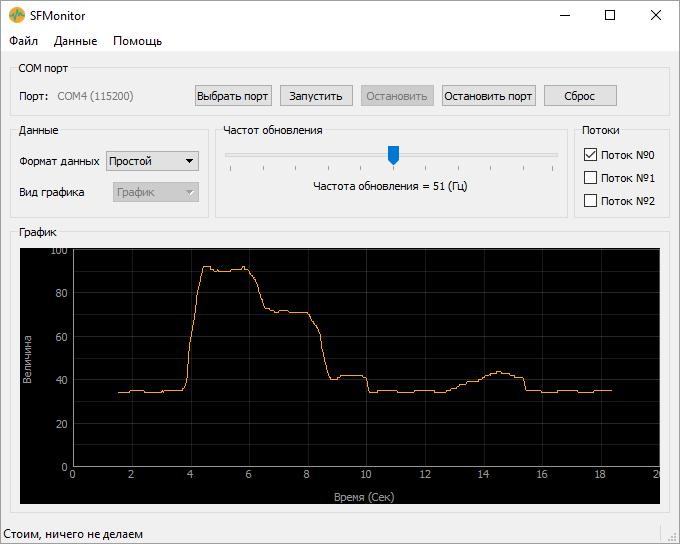 Настройка SFMonitor. Простой график из COM-порта Ардуино