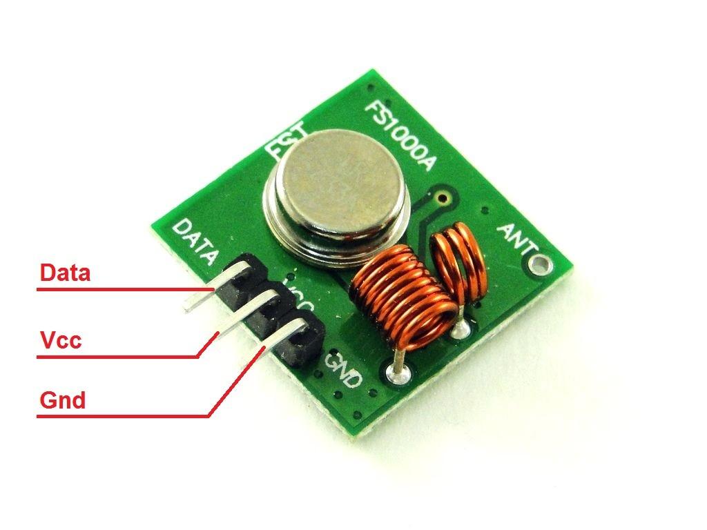 Распиновка передатчика 433МГц