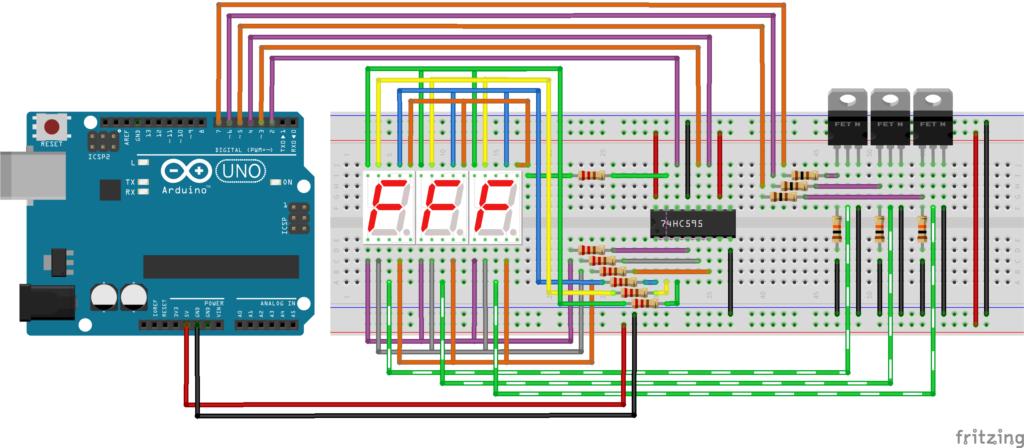 Макетная схема для динамической индикации на Ардуино