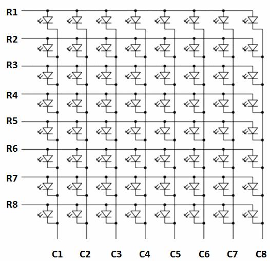 Светодиодная матрица на Ардуино, схема