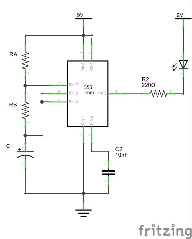 Принципиальная схема подключения таймера 555, светодиод