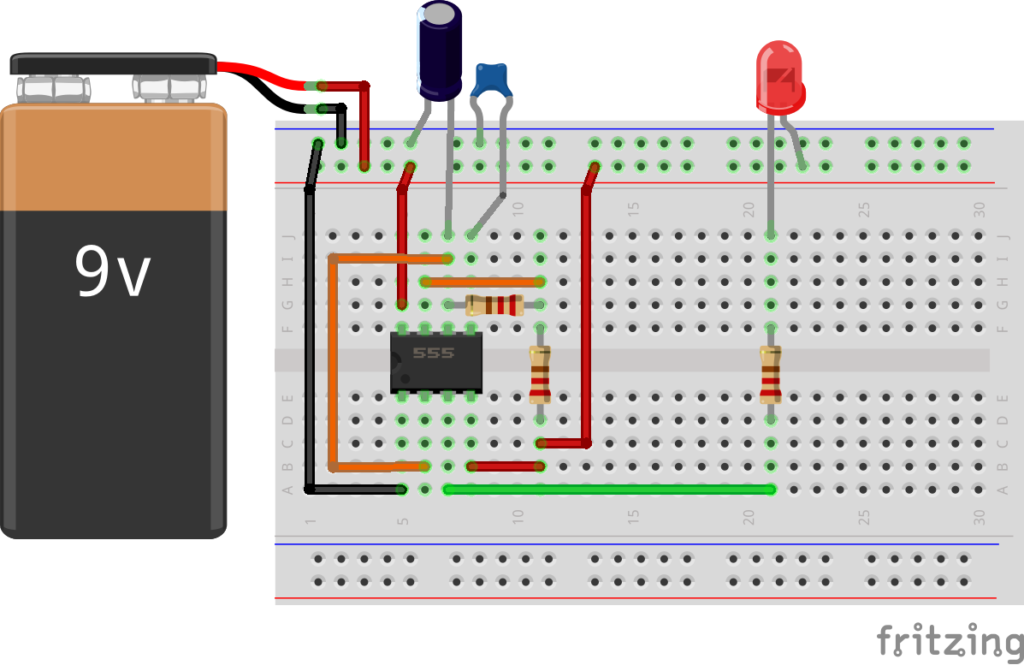 Схема подключения таймера 555, светодиод