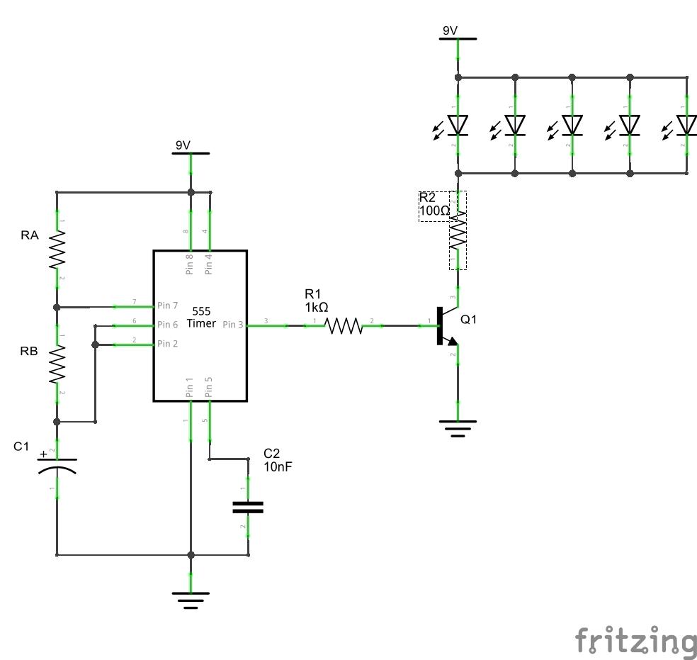 схема мигания светодиода на 555