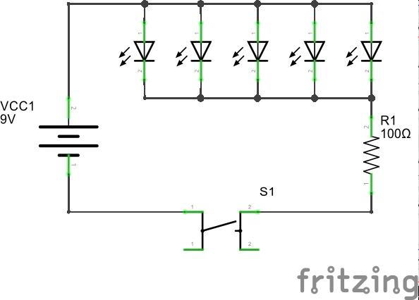 Принципиальная схема подключения светодиодов