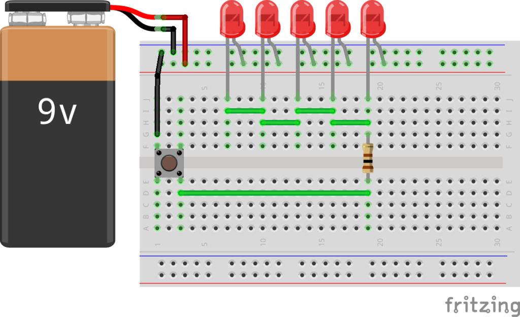 Схема подключения светодиодов и кнопки