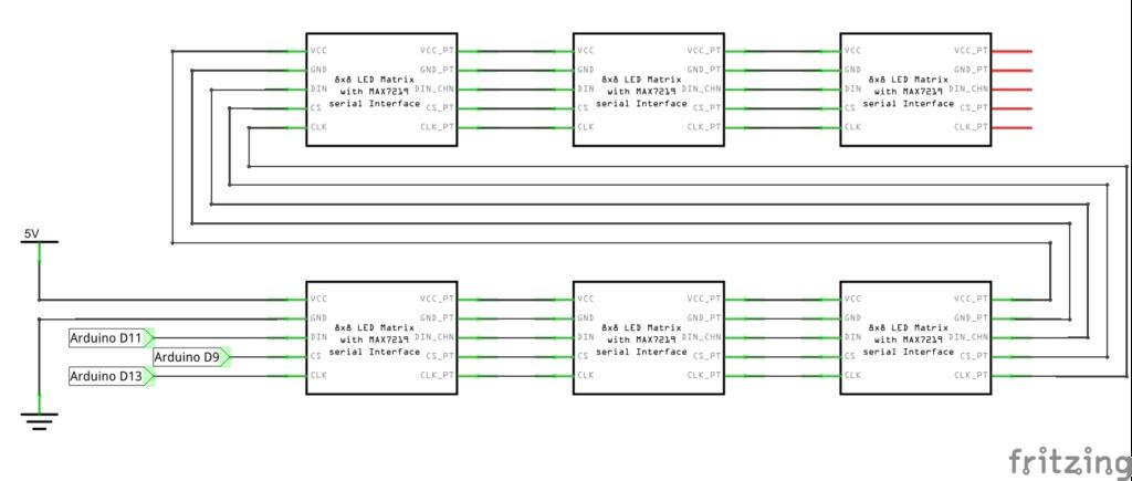 Схема подключения для шести матриц 8x8 на основе max7219