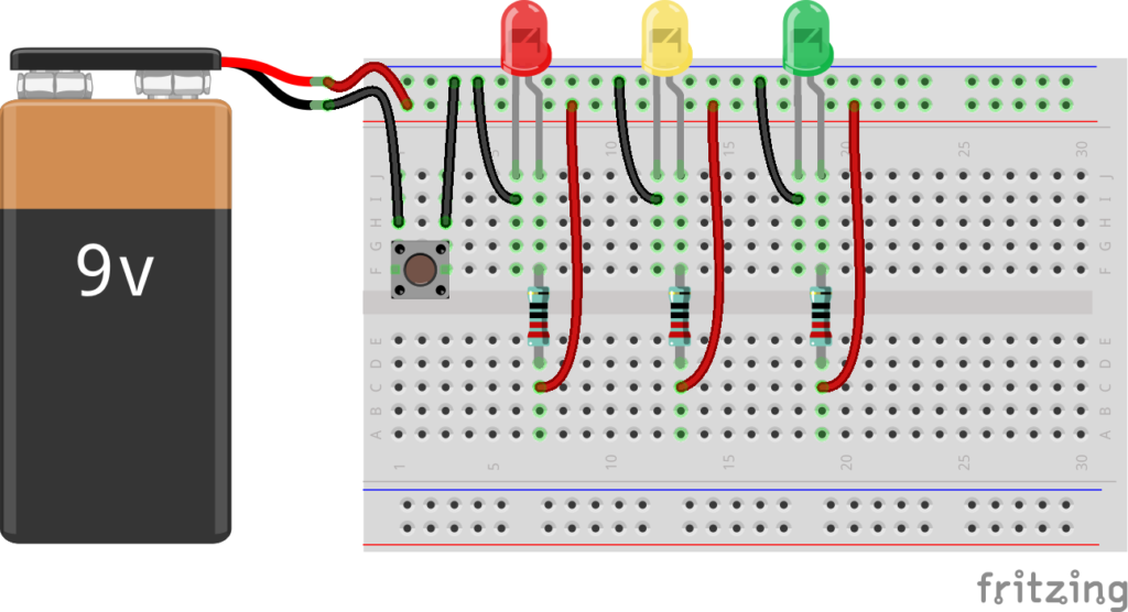 Макетная плата. Светодиод, резистор, кнопка, шина питания