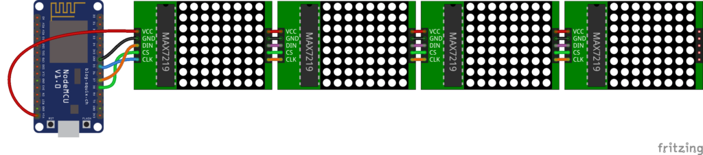 Схема подключения матрицы к NodeMCU