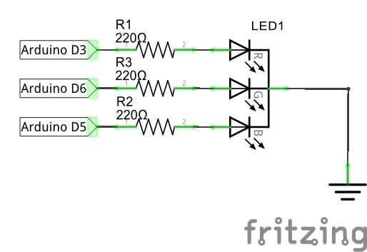 Подключение RGB многоцветного светодиода к Arduino