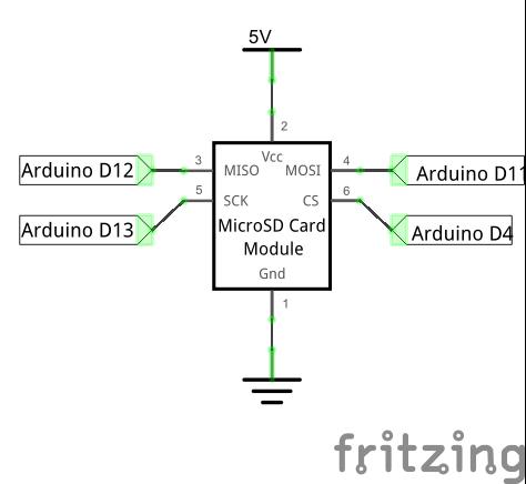 Модуль микро-SD карт и Ардуино на макетной плате