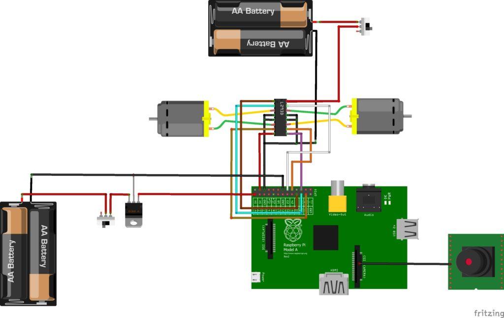 Мобильный робот на Raspberry Pi, электрическая схема