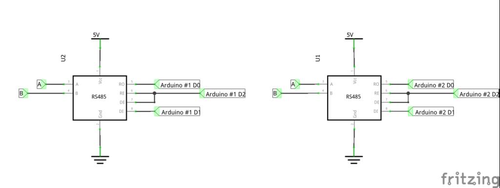Схема подключения двух Ардуино через RS485