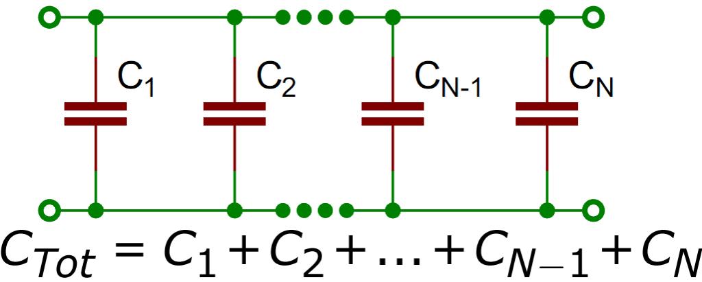 Параллельное подключение конденсаторов
