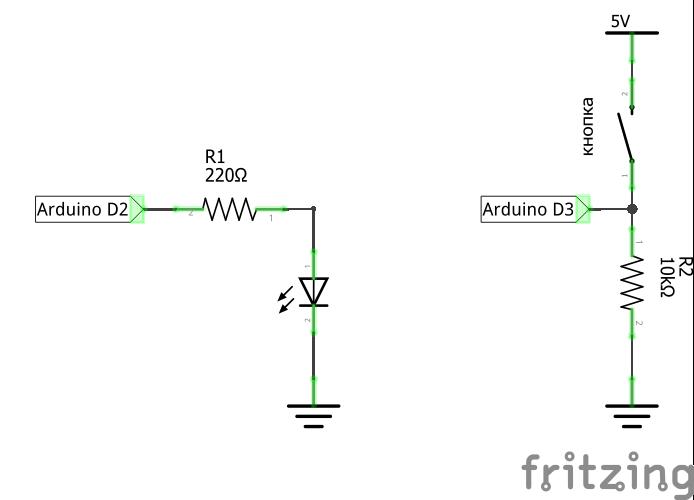 Схема подключения кнопки к Ардуино