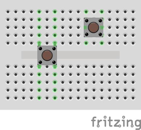 Тактовые кнопки на макетной плате