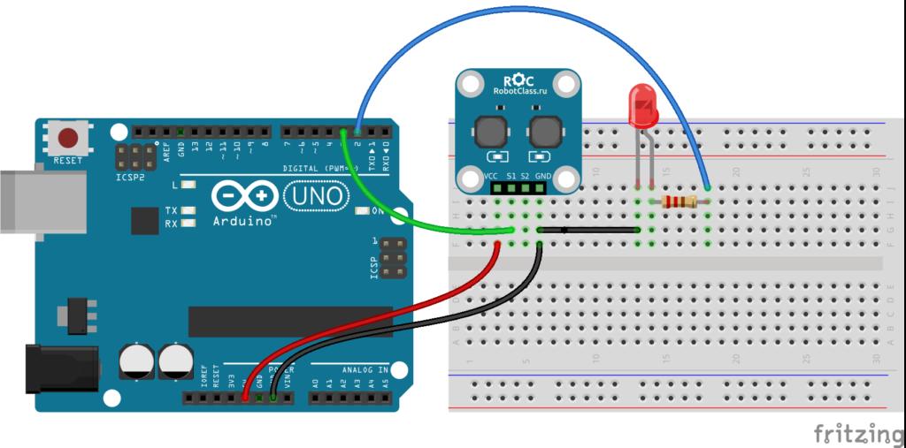 Схема подключения модуля тактовых кнопок ROC