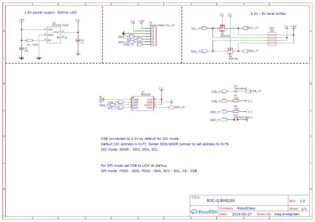 Принципиальная схема модуля BME280 RobotClass-ROC